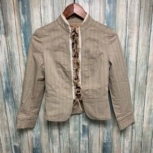 ZARA Tie Front Jacket sz Small Cotton # L962